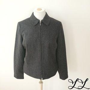 Eddie Bauer Jacket Blazer Zip Dark Gray Silk Wool